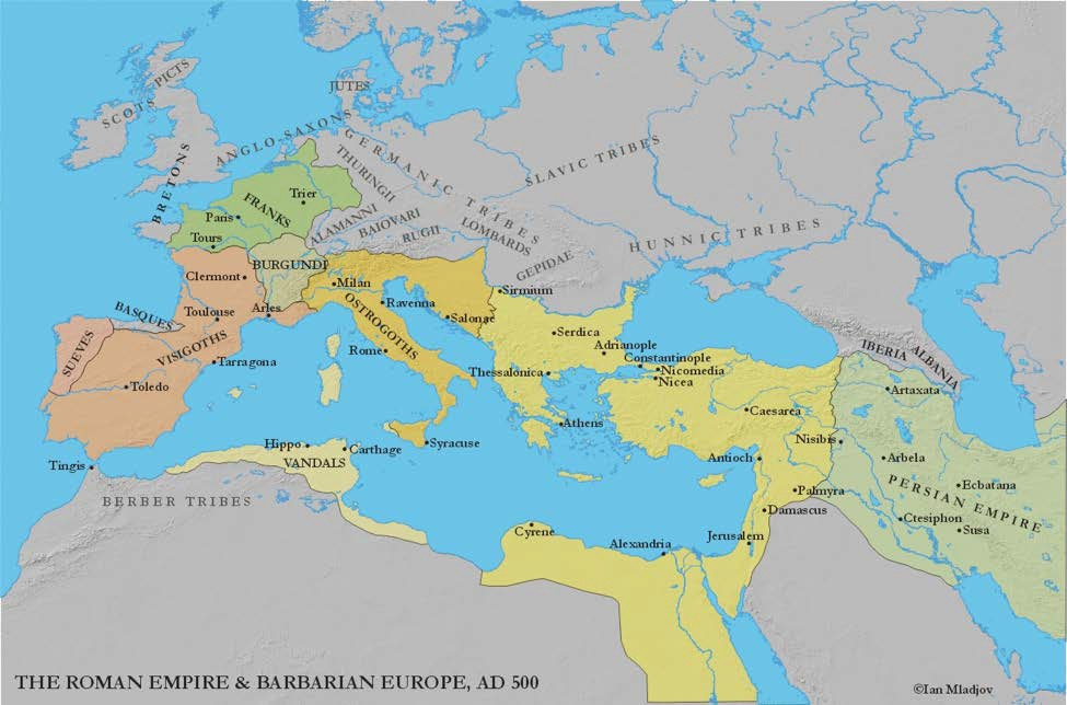 Map of The Roman Empire and Barbarian Europe 500 CE