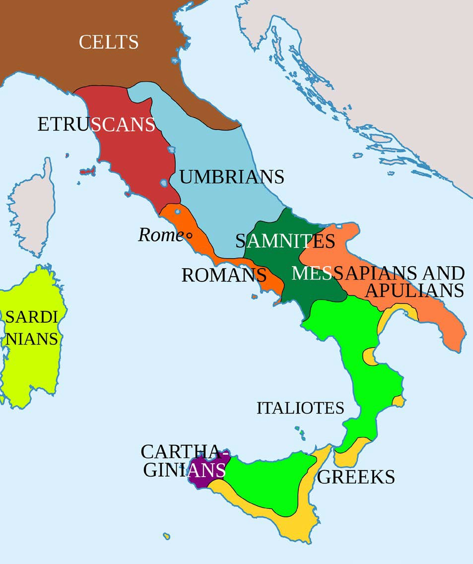 Map of Italy in 400 BCE