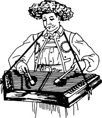 drawing of a man playing a dulcimer