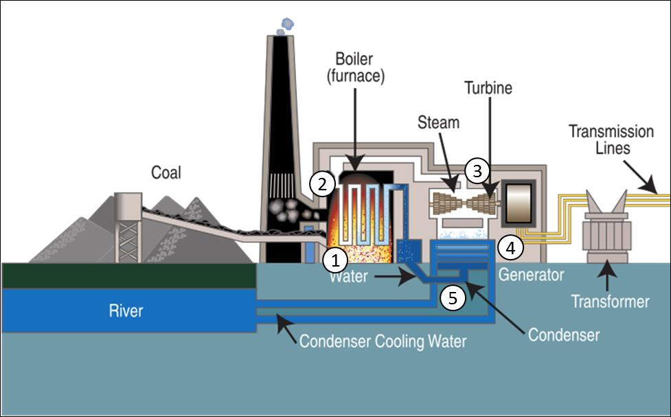 Diagram of the typical steam-cycle coal power plant.
