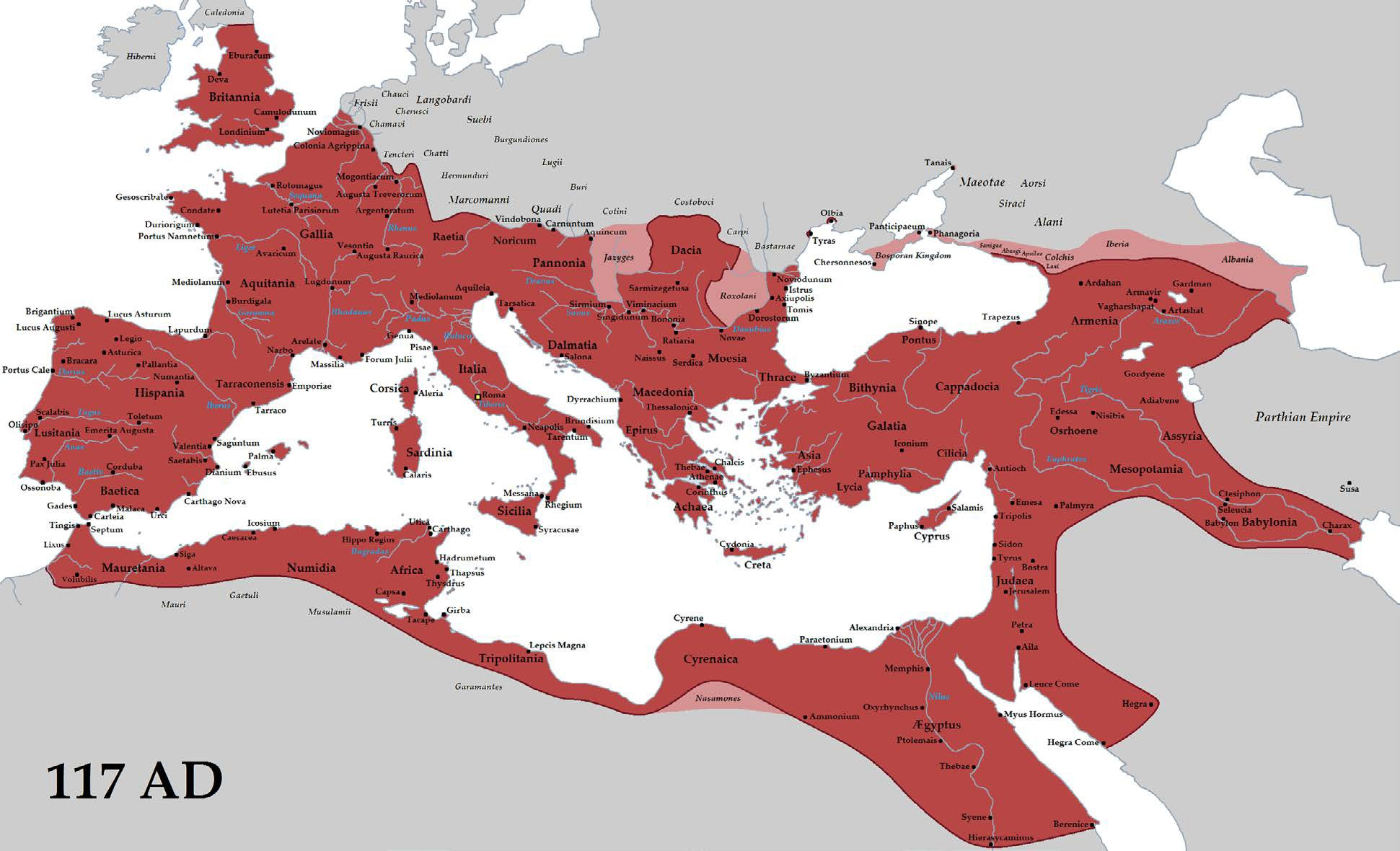 Map of the Roman Empire at its Greatest Extent, 117 CE