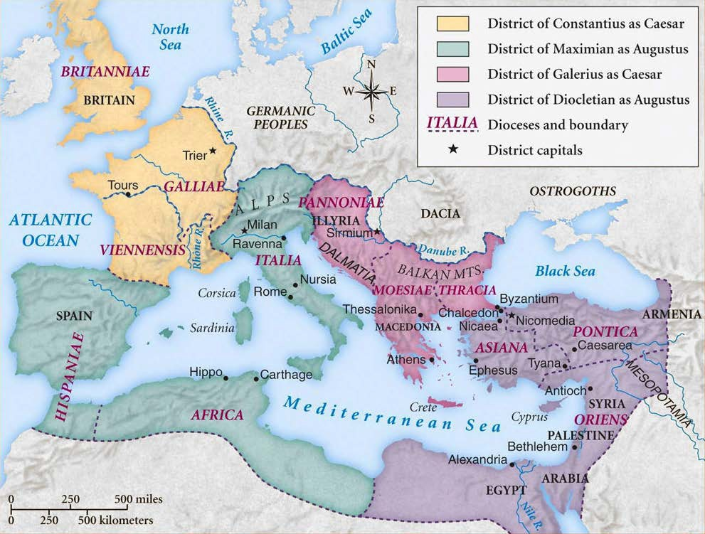 Map of the Roman Empire under the Tetrarchy
