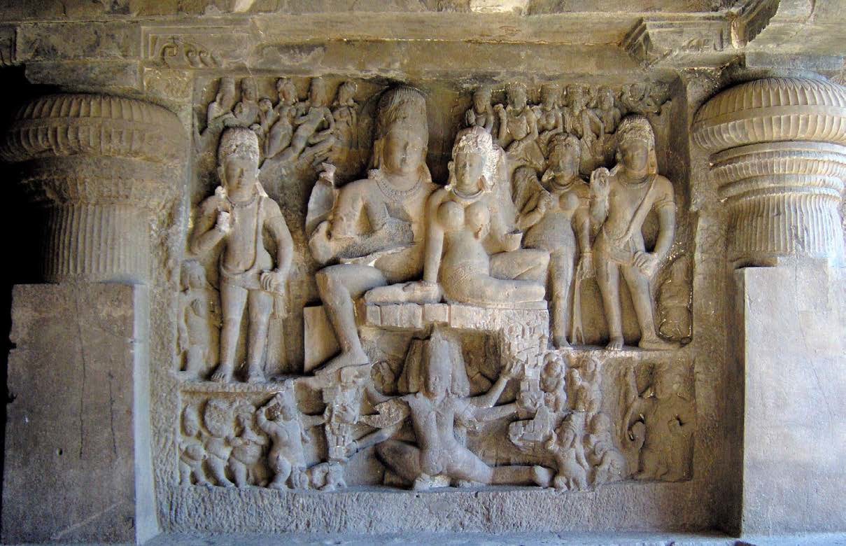 Relief of Shiva and his wife Parvati in a rock-cut Hindu cave-temple
