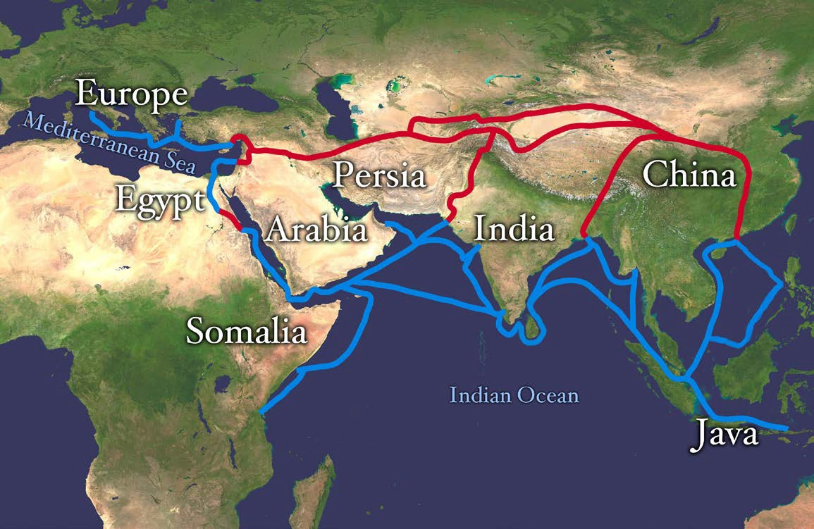 Map of some of the major Indian Ocean and Silk Road trade routes that linked India to the rest of Afro-Eurasia